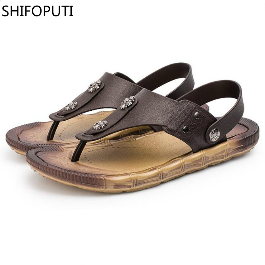 SHIFOPUTI Summer New Big Size Male Leisure Outdoor Breathable Waterproof Sandals Soft Bottom Comfortable Beach Mens Flat Shoes