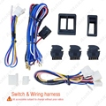 Universal Car Power Window 3pcs switches with Holder & Wire Harness #J-2843