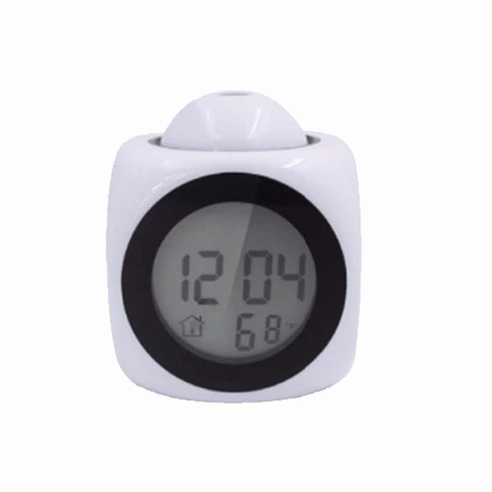 Multi-função de parede digital LCD temperatura display LED voz projeção alarme projeção relógio despertador criativo