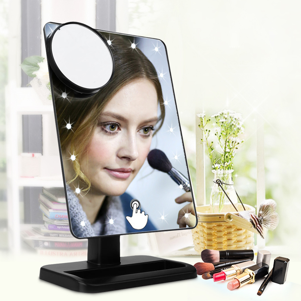 Gustala Portable Adjustable Vanity Tabletop Lamp 20 LEDs Touch Screen 180  Rotating Cosmetic Mirror Countertop Makeup