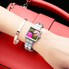 Waterproof fashion trend of the new womens watch in 2019 recreational quartz multi-color stitching literal flag m