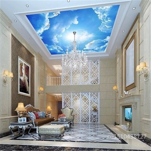 Photo Wallpaper Clouds Sky Blue And White Wall Paper Interior Ceiling Top Lobby Living Room Conference