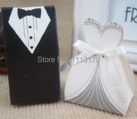 Free Shipping 100pcs 50pairs Bride Groom Wedding Favor Bo Party Gift Candy Cookie Box