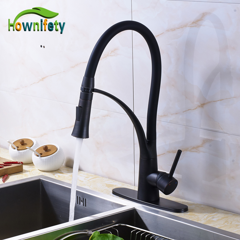 Traditional Oil Rubbed Bronze Kitchen Sink Faucet Single Handle Mixer Tap with Cover Plate