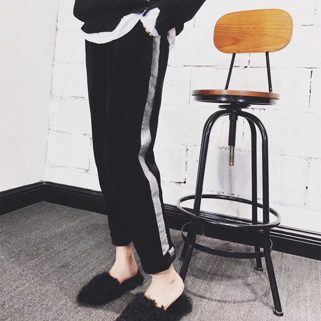 Autumn and Winter New Large Code Women Fashion Ankle Length Plus Padded Trousers Leisure Sports Pants Plus Size