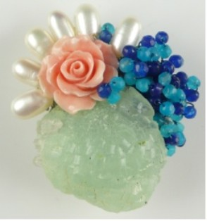 Semi-precious Stone Brooch With Flower For Women Natural Stone Brooch Pins Grape Stone Brooch Free Shipping cake brooch