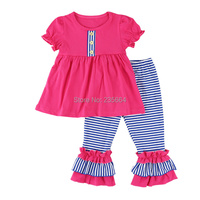 new arrival Girls Clothing set Ruffle t-shirt + pants suit 2pcs/set baby girls casual short-sleeved t-shirt leggings set