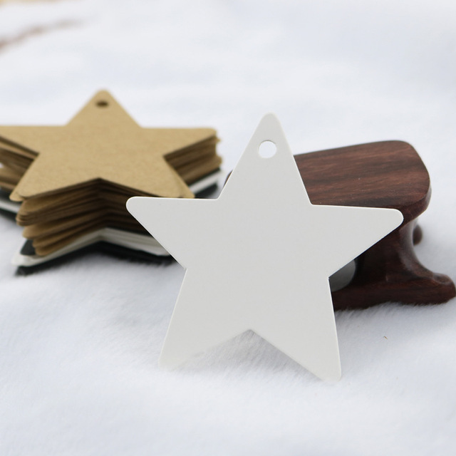 100pcs DIY Black Star Kraft Paper Label Price Tag Wedding Christmas Halloween Party Favor Gift Card Luggage Tags Packaging Label