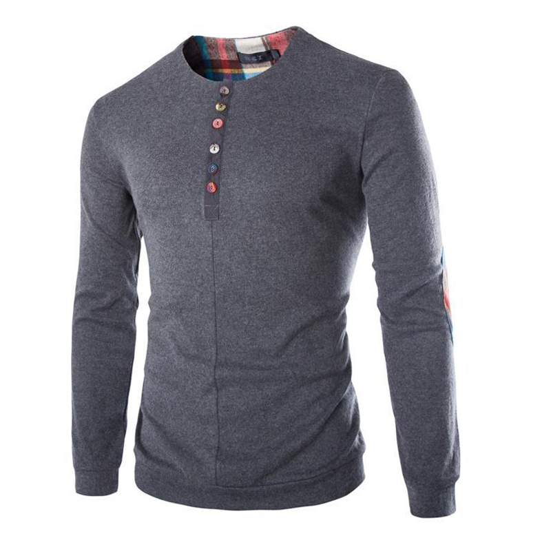 2016New Casual Shirts Patchwork Men s LongSleeve Camisa Masculina Dark Grey Cashmere Colorful Button Shirt for