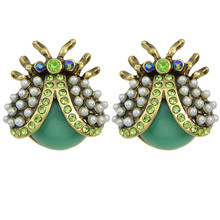 Green Lovely Ladybug Stud Earrings