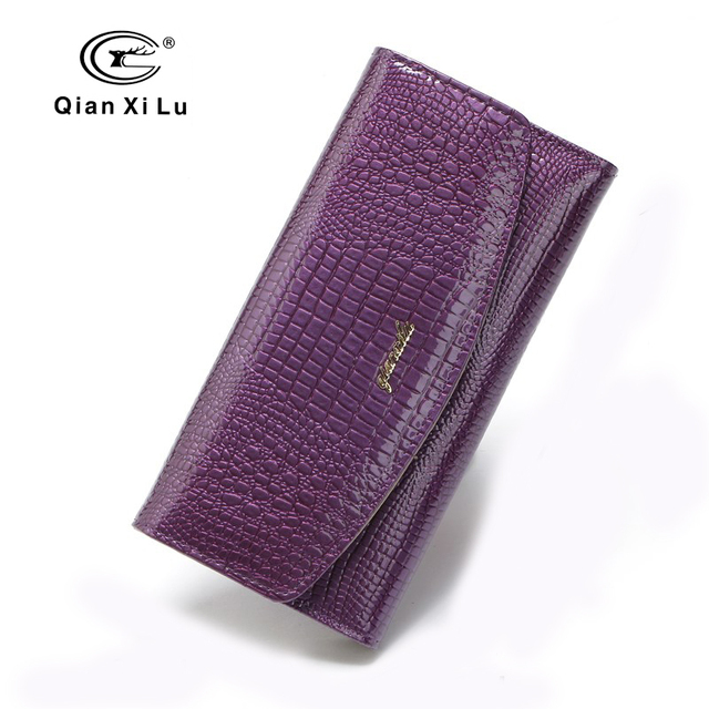 Qianxilu Designer For Women Long Purses 3Fold Leather Fashion Wallets Clutch Lady Party Wallet Female Card Holders High Quality