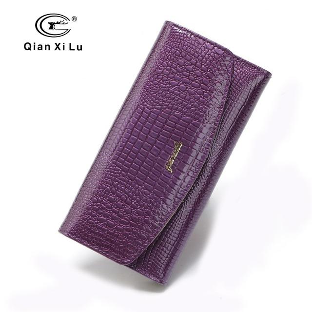98853c3c0 Qianxilu Designer Para As Mulheres Longa Bolsas 3 Fold Couro Moda Titulares  de Cartão Carteiras Embreagem Partido Senhora Feminina Carteira Alta  Qualidade