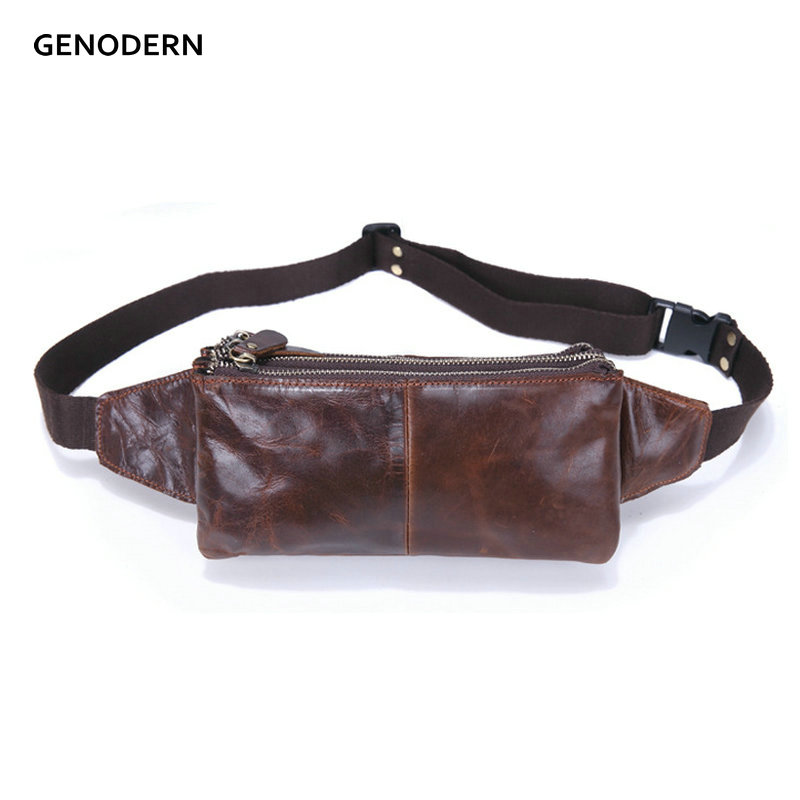 Vintage Men's Waist Bags Genuine Leather Waist Bag for Men Brown Cowhide Waist Pouch Male Bag Waist Pack without Logo stylish zinc alloy cowhide waist decoration keychain brown coffee