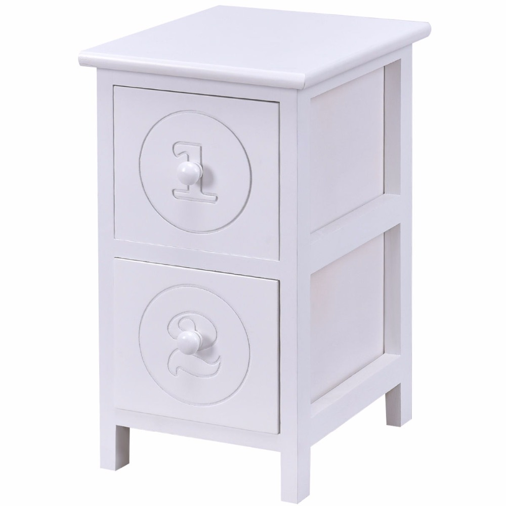 Giantex White Wooden Bedside Table Bedroom Furniture Modern Nightstand Cabinet with 2 Storage Drawers End Tables HW55579