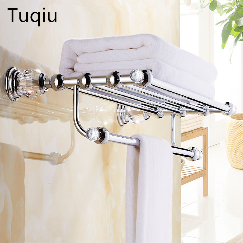 High Quality Brass and Crystal Bathroom Towel Rack Holder Hotel Home Bathroom Storage Rack Rail Shelf porta toalha 2016 high quality oil black fixed bath towel holder brass towel rack holder for hotel or home bathroom storage rack rail shelf