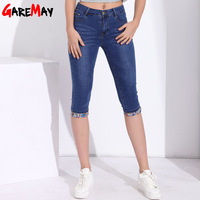 Summer Skinny Jeans Capris Women Stretch Knee Length Denim Pants High Waist Women S Jeans Plus