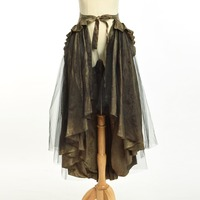 Women Steampunk Victorian Goth Chartreuse Flounce Bustle Sarong Skirt Can Be Weared As Cape Top