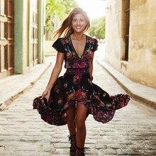 Vestidos Party Dresses Vintage Women Summer Dress Long Maxi Evening Party Beach Print Chiffon Dress V-Neck Boho Beach Floral