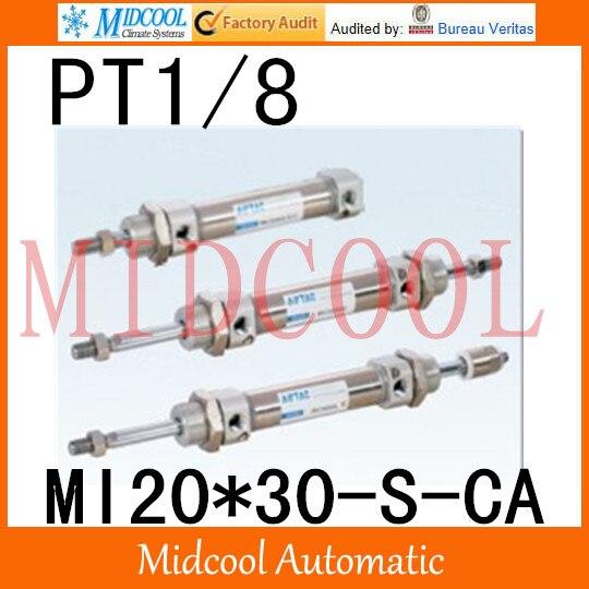 MI série ISO6432 Mini cylindre en acier inoxydable MI20 * 30-S-CA alésage 20mm port PT1/8