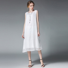 Summer new product plus size women's loose Chiffon dresses Large size ladies' casual sleeveless Vest dress oversize XL to 4XL недорого