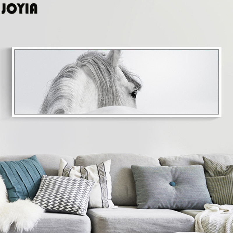 Large horse painting abstract white horses wall art canvas for Minimalist wall decor