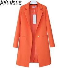 Горячая распродажа Женские блейзеры и куртки весна осень повседневные длинные женские костюмы с широкой талией одноцветные женские куртки размера плюс LX95