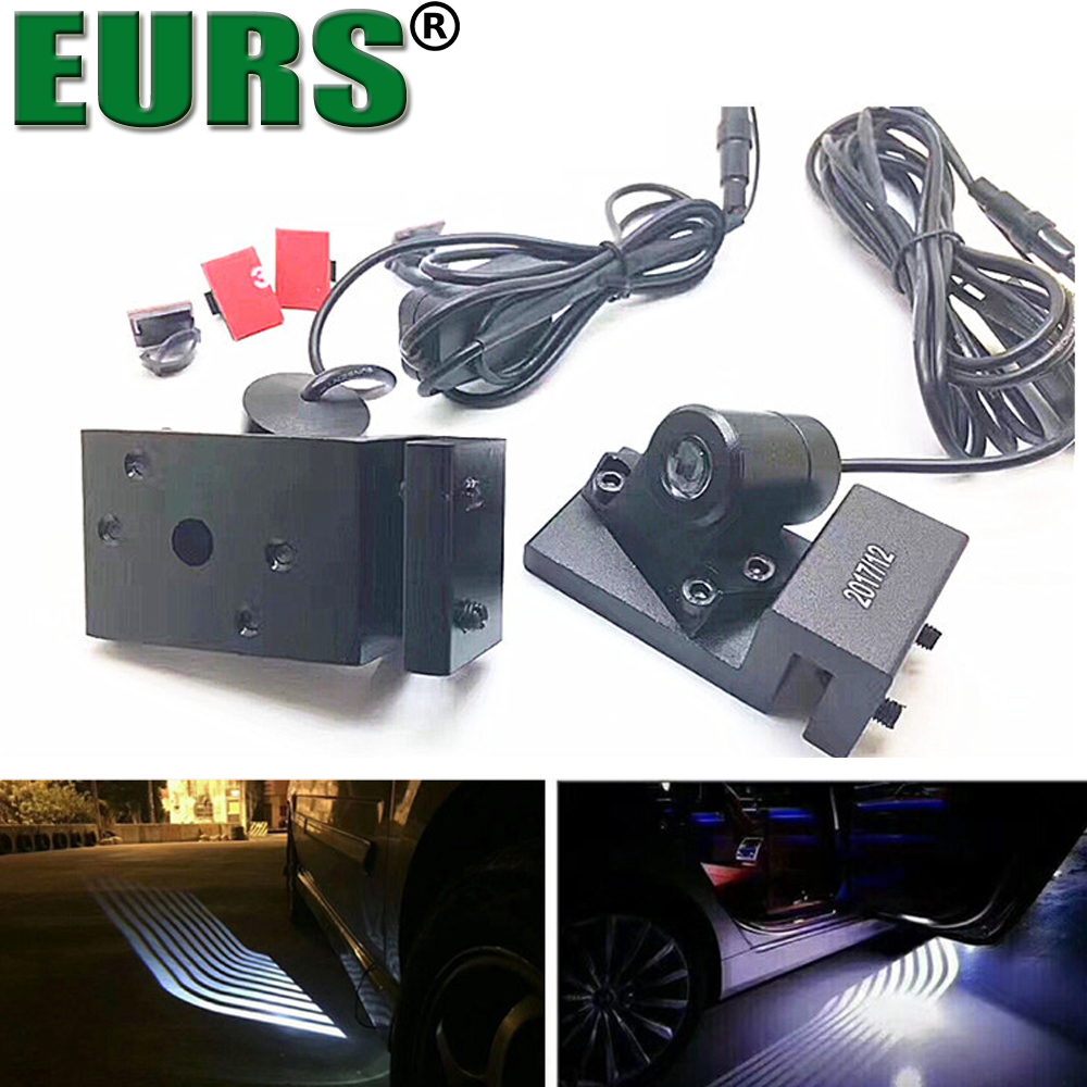Eurs (TM) 2 unids universal puerta del coche alas de Ángel impermeable Bienvenido bombilla 12 V 1 W logo luces LED modificado lámpara