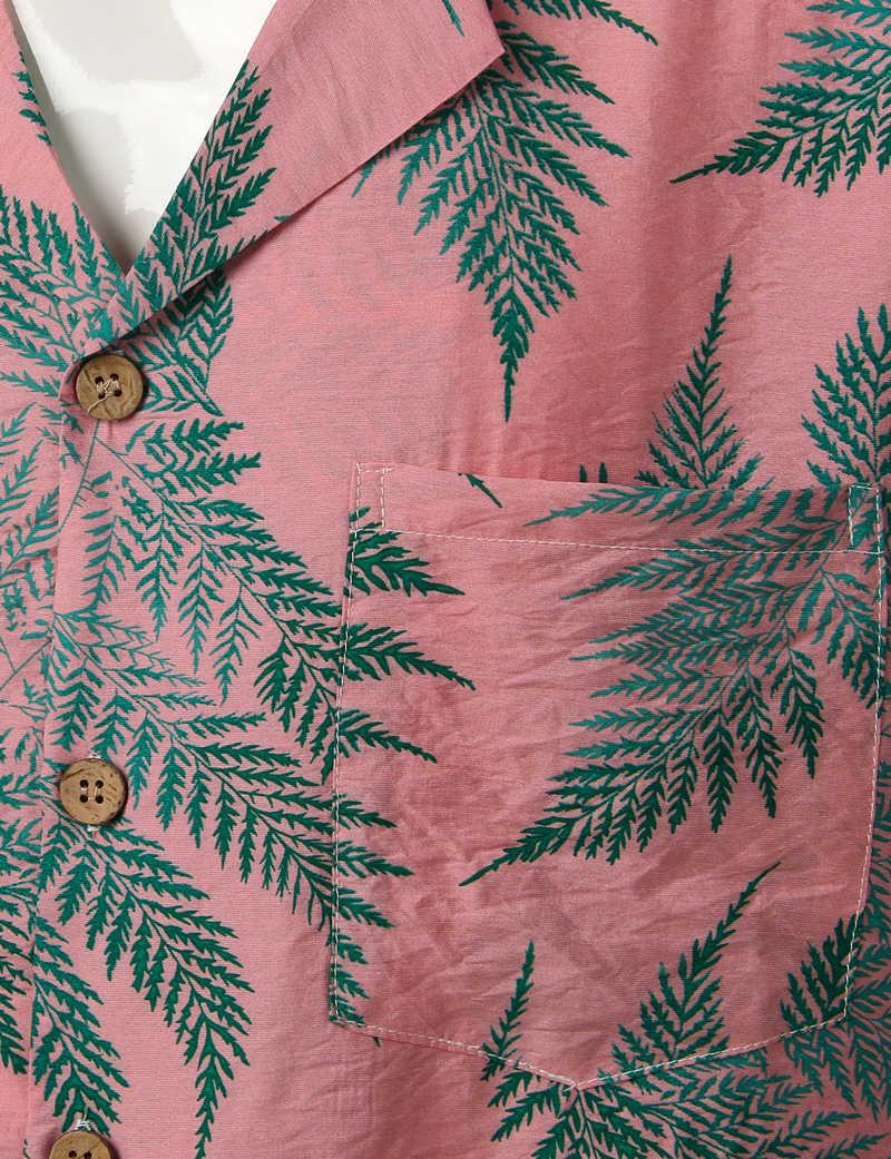 Мужские s хипстерские повседневные с коротким рукавом Гавайская Мужская рубашка навыпуск с ярким рисунком 2019 летние новые кнопки вниз тропические мужские пляжные рубашки с карманом розовый 2XL
