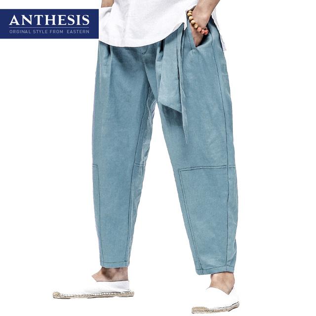 Antese calças de linho fluidos calças skinny primavera calças soltas masculinos masculino oriental estilo calça casual calças