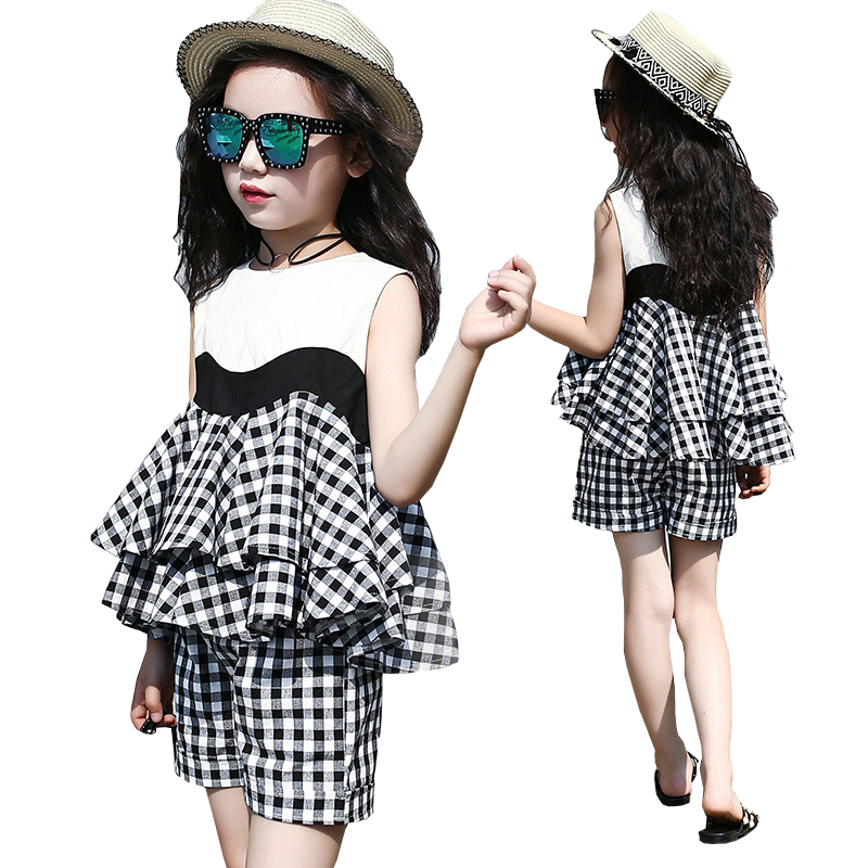 Summer Children's Clothing Girl Clothes Sets 2 Pcs Kids Cotton Shirts Tops + Plaid Shorts Fashion Girls Outfits Teens Costume off shoulder tops t shirts denim pants hole jeans 3pcs outfits set clothing fashion baby kids girls clothes sets