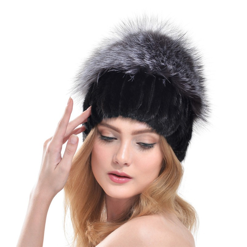 QUEENFUR-Russia-Style-100-Real-Knitted-Mink-Fur-Hat-With-Large-Silver-Fox-Fur-Pom-Poms