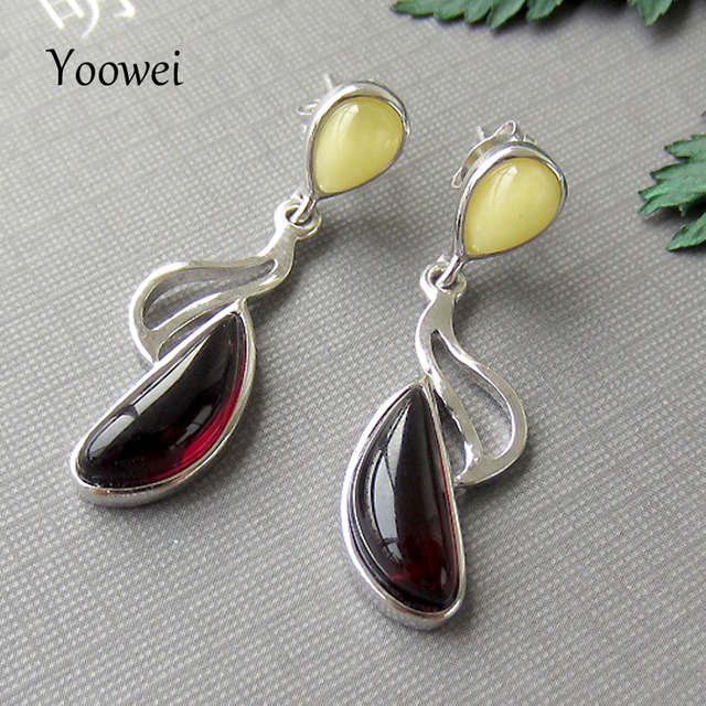 Yoowei Natural Amber Earring for Women Poland Imported Luxurious