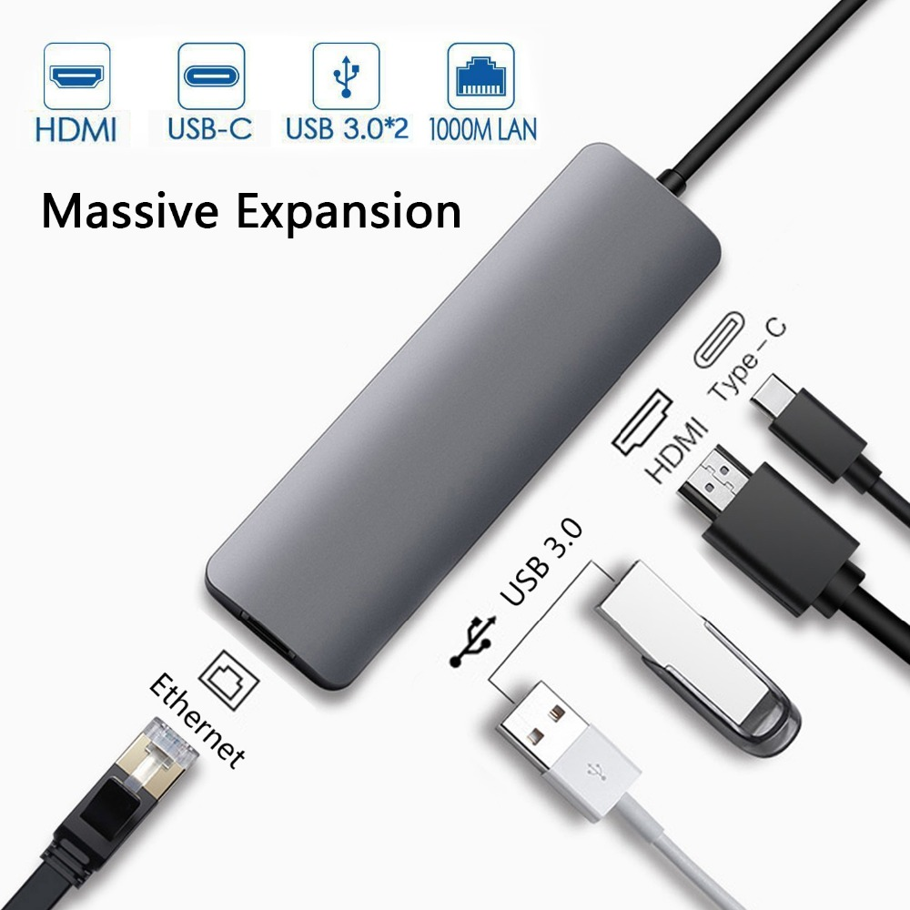 Док-станция с Тип C разъем HDMI RJ45 USB Мощность доставки хаб для ноутбуков Macbook Pro hp DELL поверхности Lenovo Huawei Dock