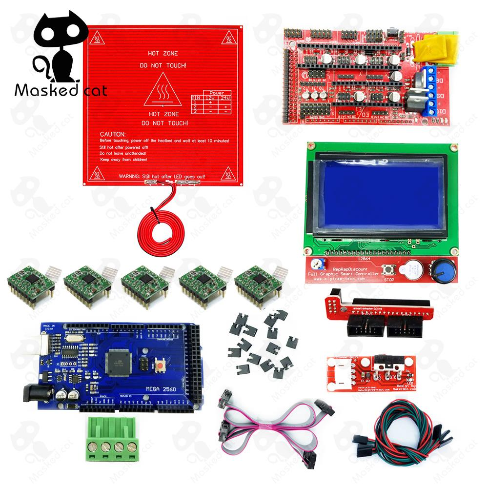 Top 99 Cheap Products 3d Printer Parts In Bulbs Lead Screw T8 2 D8 300mm Plus Nut Reprap Ramps 14 Kit With Mega 2560 R3 Heatbed Mk2b 12864 Lcd Controller A4988 Driver Endstops Cables