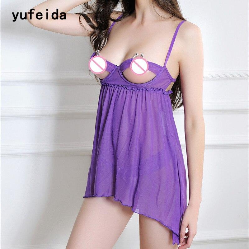 YUFEIDA Sexy Women's Open Breasts Babydoll Soft Lace   Nightgowns   Dress Hot New Robe   Sleepshirts   Nightwear Sleepwear+G-string