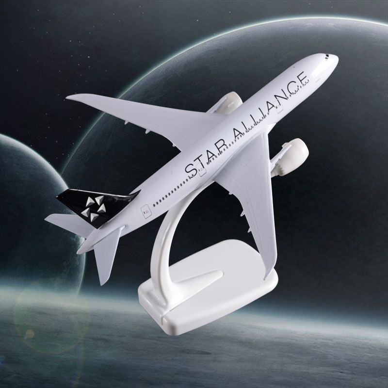 20 cm Boeing B787 Star Alliance Airways Modèle Boeing 787 Avion Airbus Alliage Modèle D'avion Creative Cadeau Artisanat Gros