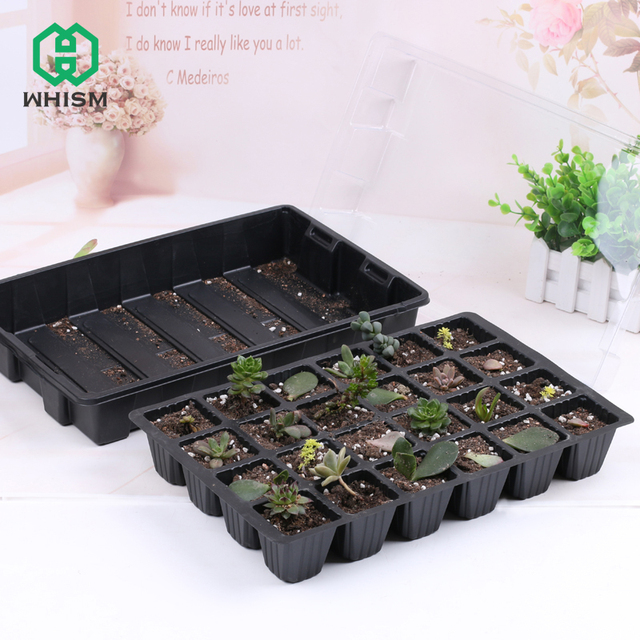 24 Cells Plant Seeds Grow Nursery Pots Tray Hydroponic Seedling Sprout Plate Plastic