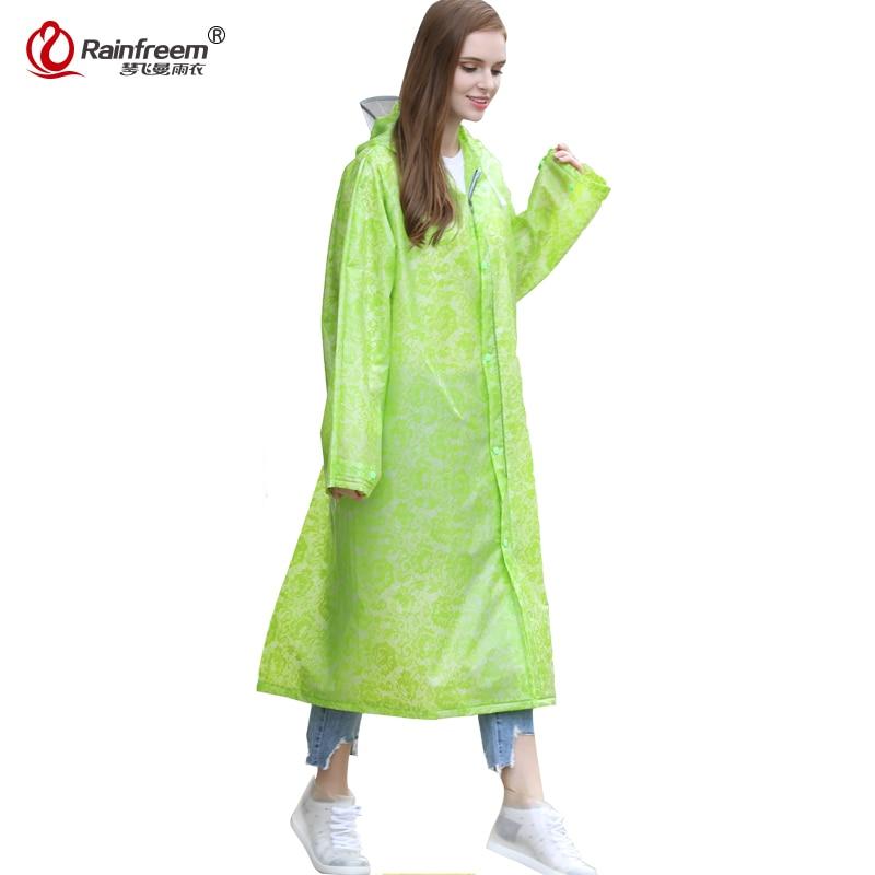 Rainfreem Spring Foldable Backpack Light Weight Rainwear Lace Raincoat Women Impermeable Plastic Transparent Rain Gear Poncho