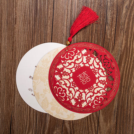 asian themed round shape red color double happiness laser cut