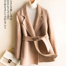 Jesień płaszcz zimowy kobiety 100% wełna płaszcz kobieta krótka kurtka + pas koreańska, wiosenna dwustronna Cashmere Casaco płaszcz 8158LW1011