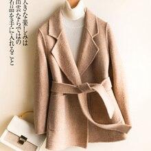 Sonbahar Kış Ceket Kadınlar 100% Yün Ceket Kadın Kısa Ceket + Kemer Kore Bahar Her Iki Taraflı Kaşmir Casaco Palto 8158LW1011