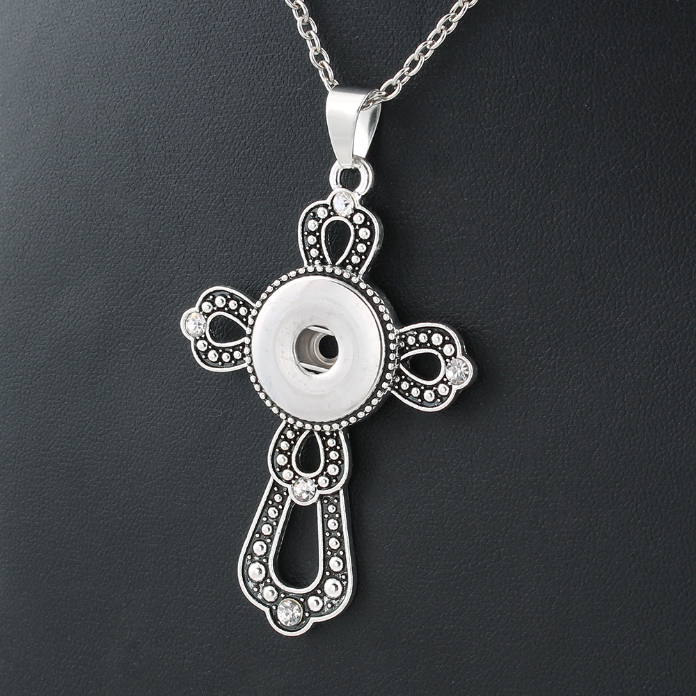 New Fashion Jewelry Xinnver Snap Buttons Necklaces Link Chain 55CM With Cross Pendant Fit 1820MM Snap Buttons Jewlery ZG103