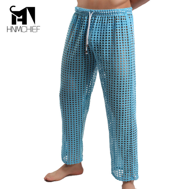 Mens opacidad pantalones hombres Pantalones de Malla Grande lucencia Diversión Bragas Largas Pantalones de Pijamas de la Ropa Interior ropa de marca