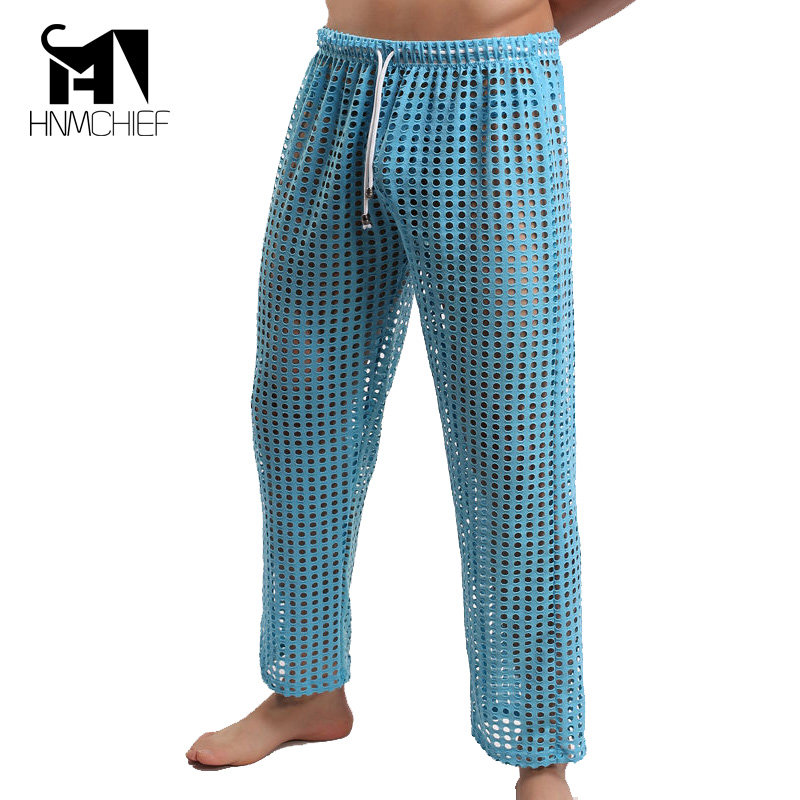 Mens See Through Pants Men's Big Mesh Trousers Lucency Fun Long Pant Sleep Bottoms Underwear Brand Clothing