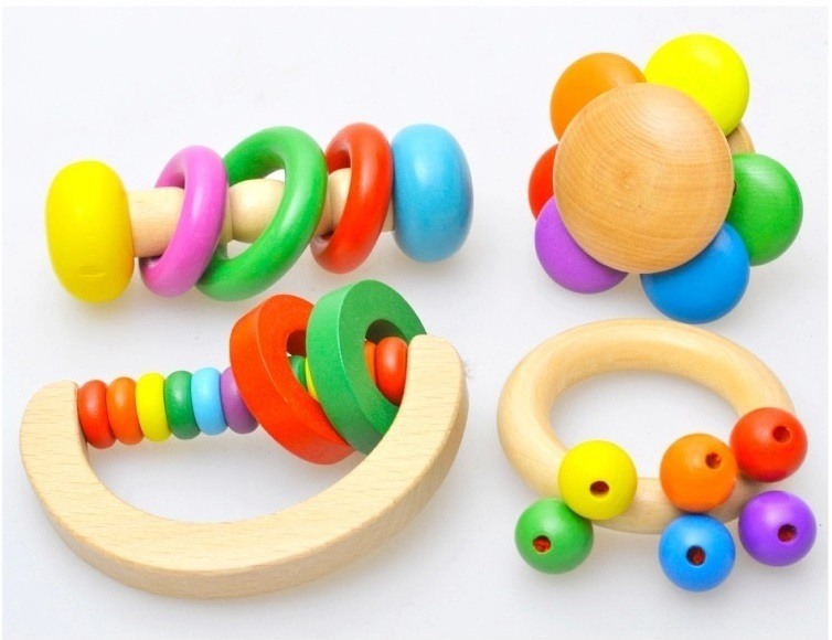 4pcs Wooden Bell Rattle Toy Baby Handbell Musical Educational Instrument Rattles For Toddlers Baby Juguetes Bebes Birthday Gifts