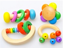4pcs Wooden Bell Rattle Toy Baby Handbell Musical Educational Instrument Rattles For Toddlers Baby Juguetes Bebes Birthday Gifts cartoon baby plush ball toys colorful softy rattle mobile ring bell toy brinquedos juguetes para bebes jouet wj531
