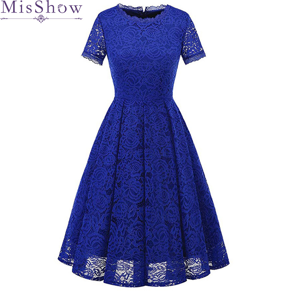 In Stock Royal Blue Full Lace   Evening     Dresses   Short Sleeve Elegant Short Cheap Vintage Simple Formal   Dress   Women Party Prom Gown