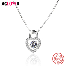 Luxury Brand 100% New 925 Sterling Silver Square/Heart Lock Necklace With Movement Crystal Zircon For Women Christmas Gift