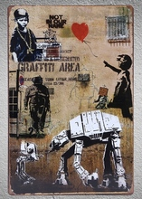 1 pc Banksy Graffiti Area Peace robots space child boy girl wall Tin Plate Sign plaques Man cave vintage metal Poster