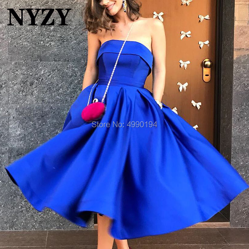 NYZY C117 Royal Blue Satin Sleeveless Ball Gown Tea Length Vestido   Cocktail     Dress   Party Short Formal   Dress   robe de soiree courte